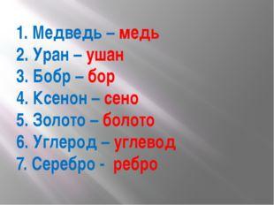1. Медведь – медь 2. Уран – ушан 3. Бобр – бор 4. Ксенон – сено 5. Золото – б