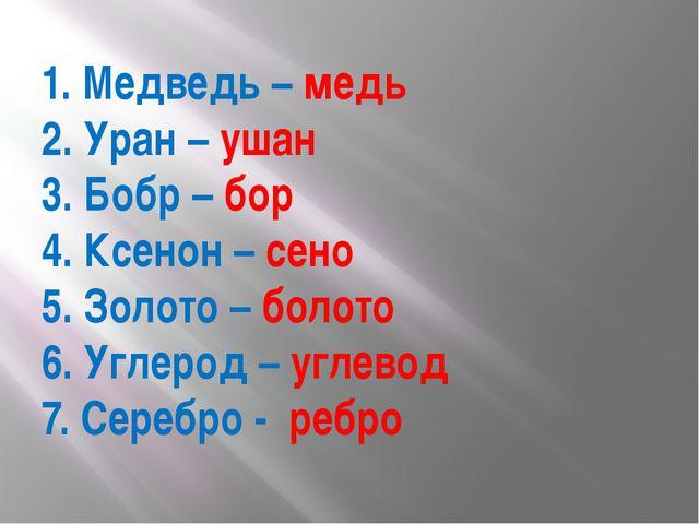 1. Медведь – медь 2. Уран – ушан 3. Бобр – бор 4. Ксенон – сено 5. Золото – б...