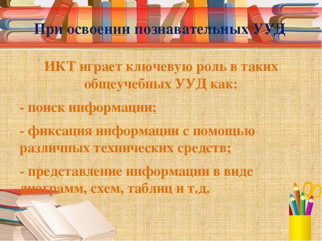 При освоении познавательных УУД ИКТ играет ключевую роль в таких общеучебных...