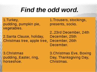 Find the odd word. 1.Turkey, pudding,pumpkin pie,vegetables. 2.Santa Clause