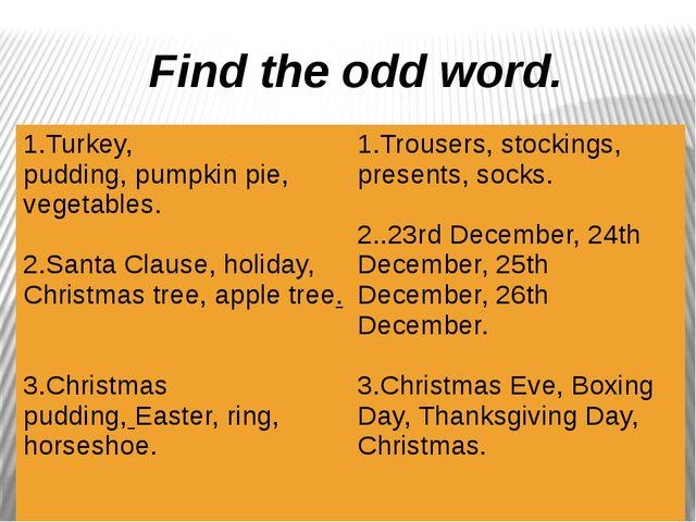 Find the odd word. 1.Turkey, pudding,pumpkin pie,vegetables. 2.Santa Clause...