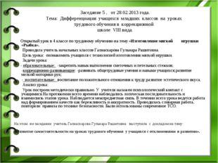 Заседание 5 , от 28.02.2013 года. Тема: Дифференциация учащихся младших класс