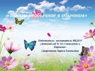 «Видим необычное в обычном» Подготовила : воспитатель МБДОУ «Детский сад № 14