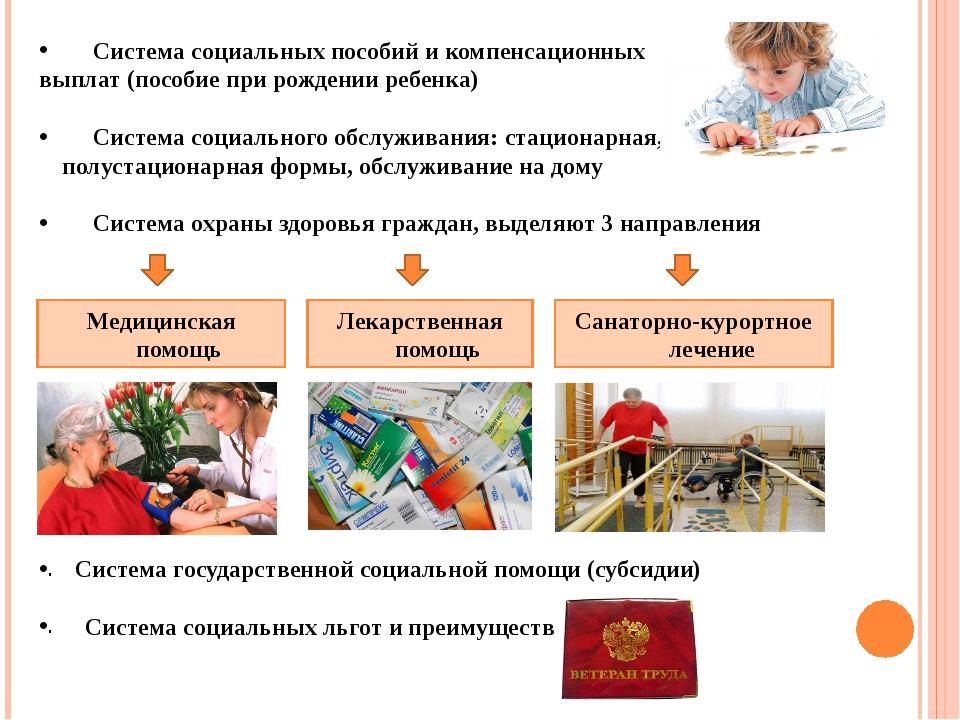 Система социальных пособий и компенсационных выплат (пособие при рождении ре...