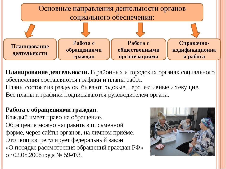 Основные направления деятельности органов социального обеспечения: Планирован...