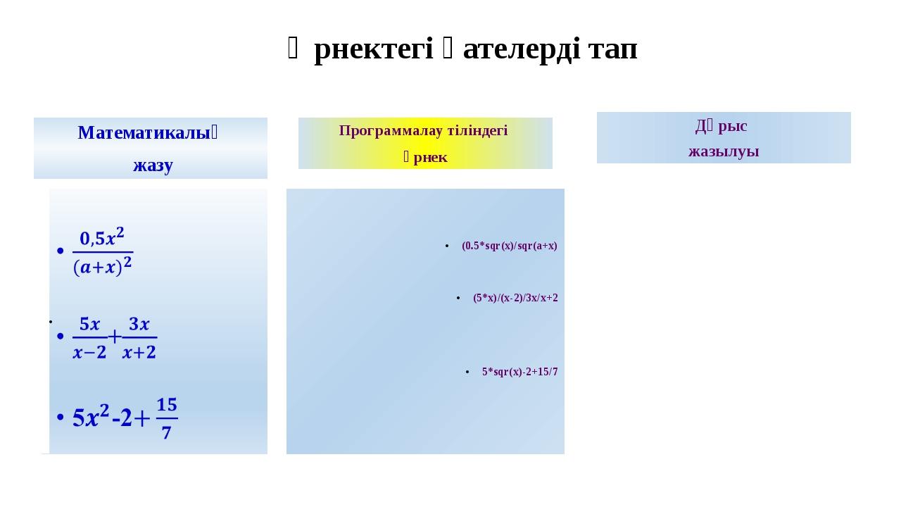 Өрнектегі қателерді тап Математикалық жазу Программалау тіліндегі өрнек (0.5*...