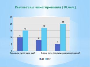 Результаты анкетирования (18 чел.)