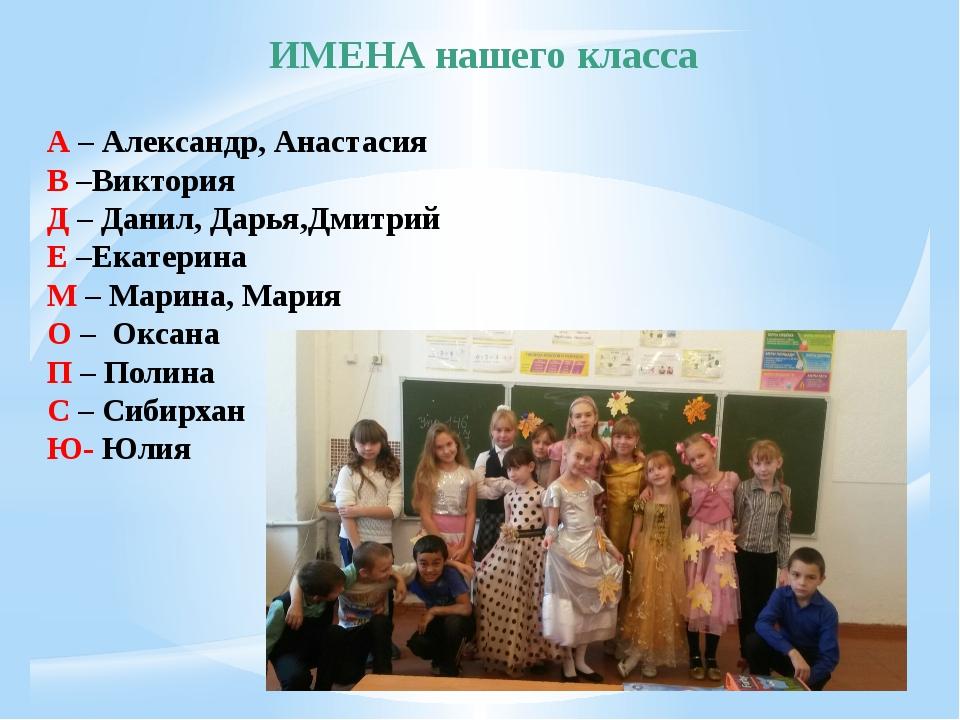 ИМЕНА нашего класса А – Александр, Анастасия В –Виктория Д – Данил, Дарья,Дми...
