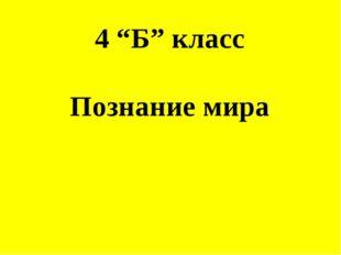 "4 ""Б"" класс Познание мира"
