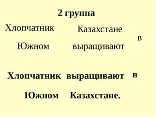 2 группа Хлопчатник выращивают в Южном Казахстане Хлопчатник выращивают в Южн