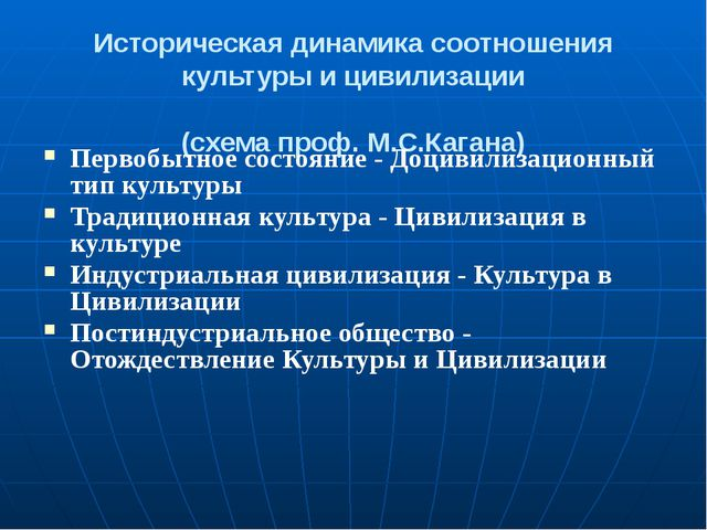 Историческая динамика соотношения культуры и цивилизации (схема проф. М.С.Каг...