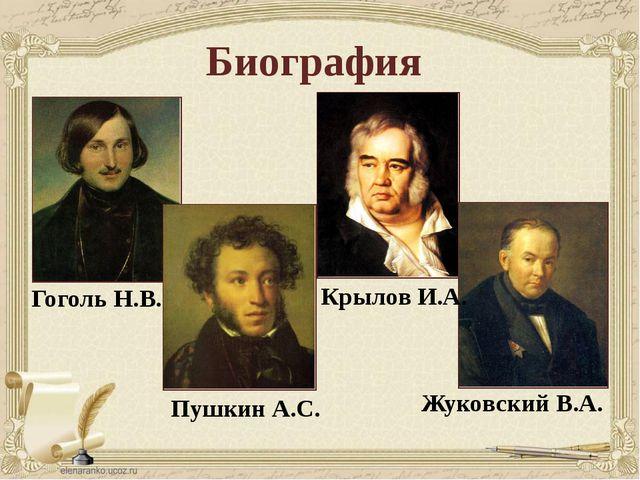 Биография Пушкин А.С. Гоголь Н.В. Жуковский В.А. Крылов И.А.