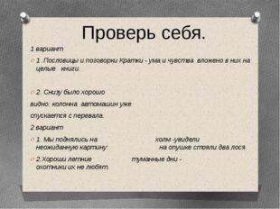 1 вариант 1 .Пословицы и поговорки Кратки - ума и чувства вложено в них на це