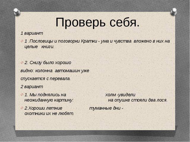 1 вариант 1 .Пословицы и поговорки Кратки - ума и чувства вложено в них на це...