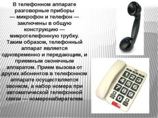В телефонном аппарате разговорные приборы —микрофони телефон — заключены в