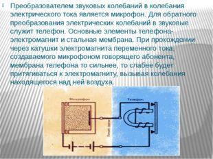 Преобразователем звуковых колебаний в колебания электрического тока является