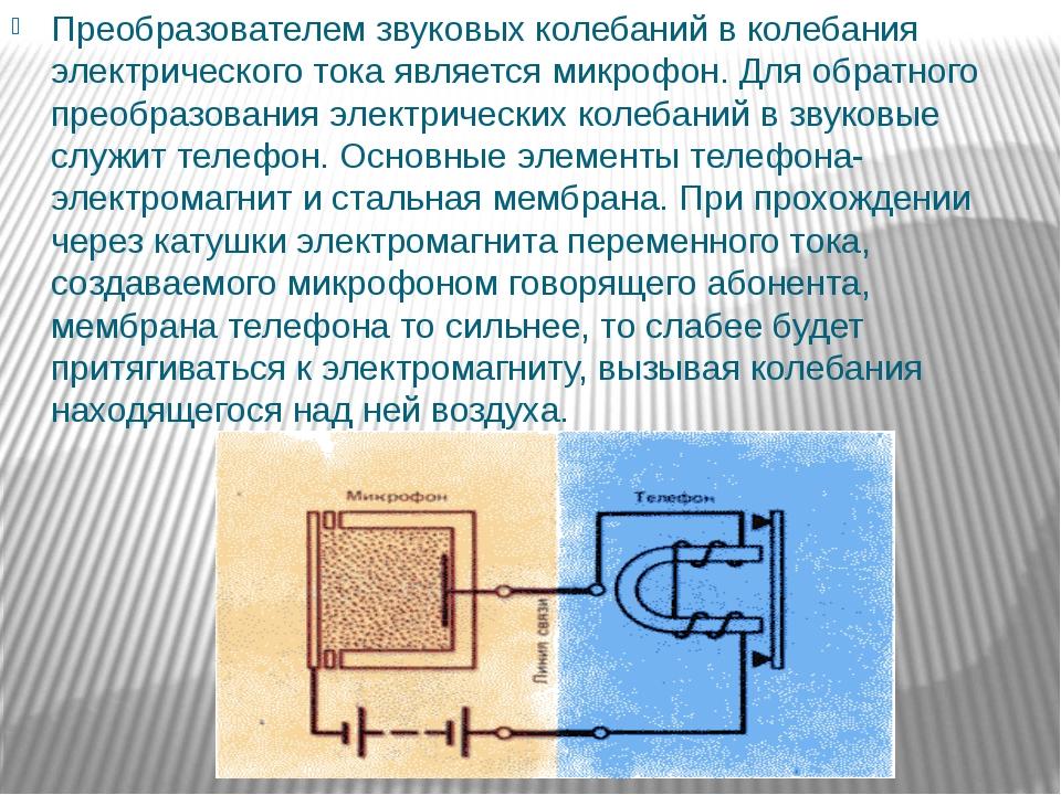 Преобразователем звуковых колебаний в колебания электрического тока является...