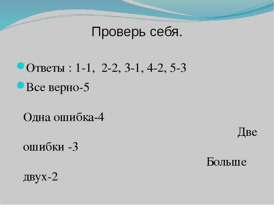 Проверь себя. Ответы : 1-1, 2-2, 3-1, 4-2, 5-3 Все верно-5 Одна ошибка-4 Две...