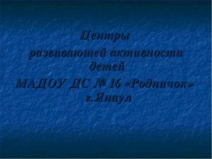 Центры развивающей активности детей МАДОУ ДС № 16 «Родничок» г.Янаул