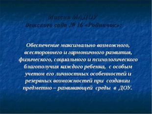 Миссия МАДОУ детского сада № 16 «Родничок»: Обеспечение максимально возможног
