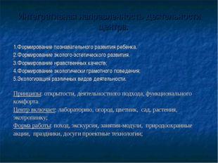 Интегративная направленность деятельности центра. 1.Формирование познавательн