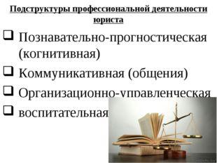 Подструктуры профессиональной деятельности юриста Познавательно-прогностическ