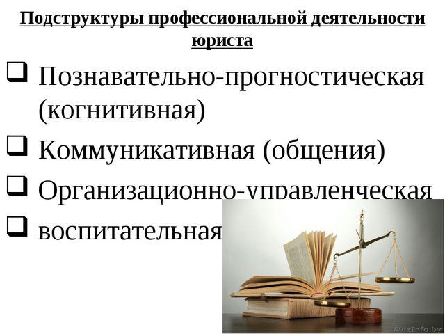 Подструктуры профессиональной деятельности юриста Познавательно-прогностическ...