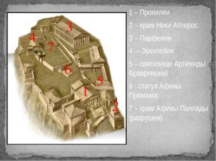 1 – Пропилеи 2 – храм Ники Аптерос 3 – Парфенон 4 – Эрехтейон 5 – святилище