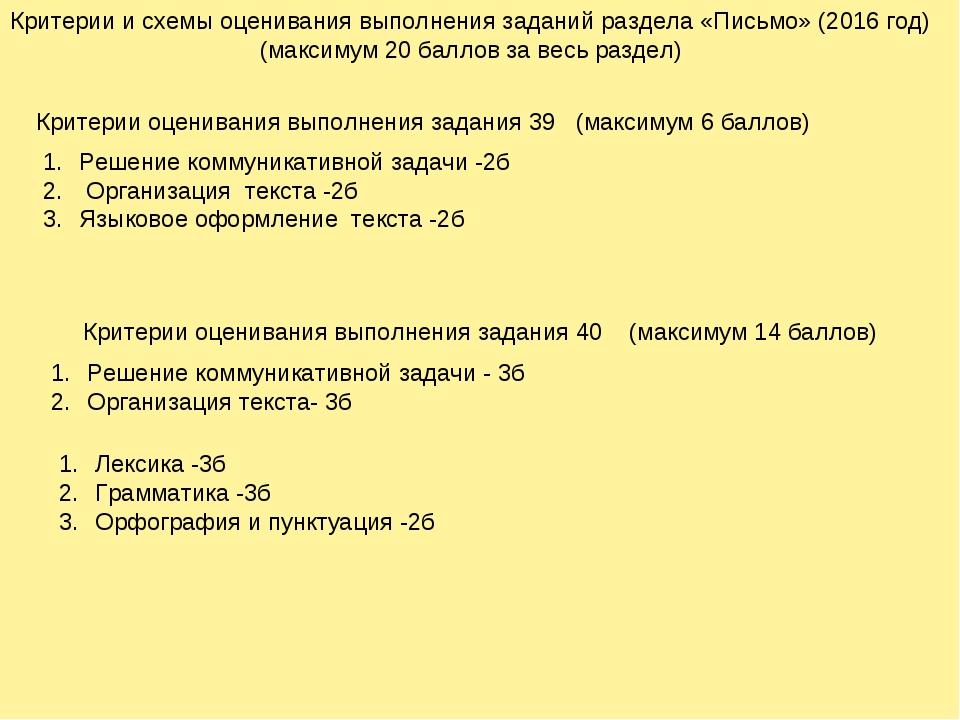 Критерии и схемы оценивания выполнения заданий раздела «Письмо» (2016 год) (м...