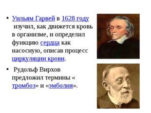 Уильям Гарвейв1628 годуизучил, как движется кровь в организме, и определи