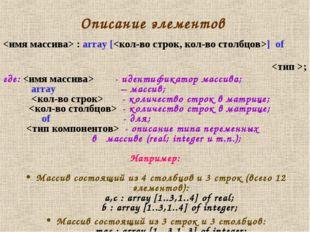 Описание элементов  : array [] of ; где:  - идентификатор массива; array – ма