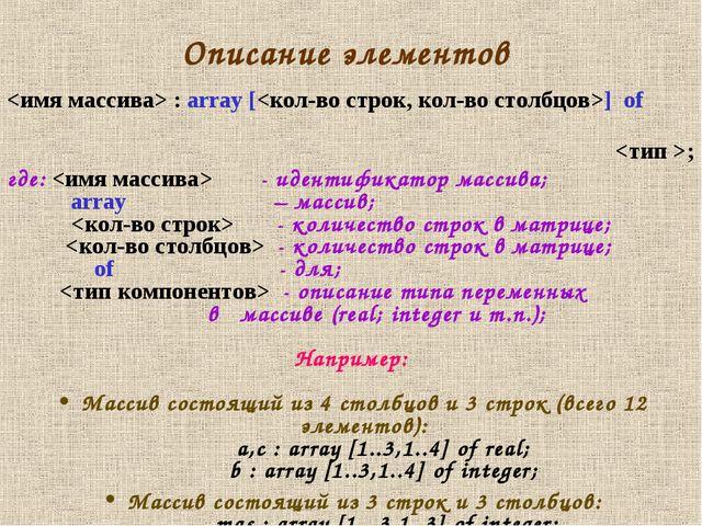 Описание элементов  : array [] of ; где:  - идентификатор массива; array – ма...
