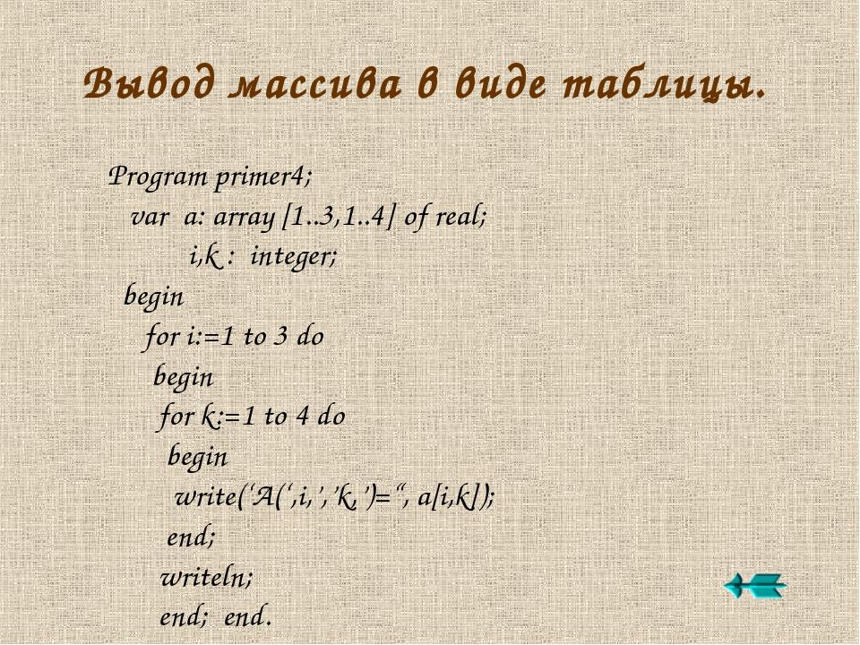 Вывод массива в виде таблицы. Program primer4; var a: array [1..3,1..4] of re...