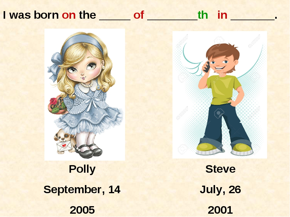 Polly September, 14 2005 Steve July, 26 2001 I was born on the _____ of _____...