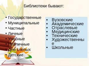 Библиотеки бывают: Государственные Муниципальные Частные Личные Учебные Публи