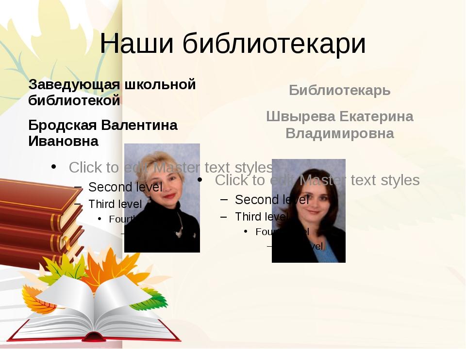 Наши библиотекари Заведующая школьной библиотекой Бродская Валентина Ивановна...