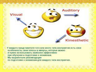 У каждого представителя того или иного типа восприятия есть свои особенности,