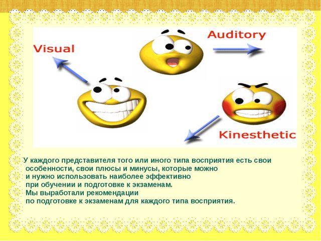 У каждого представителя того или иного типа восприятия есть свои особенности,...
