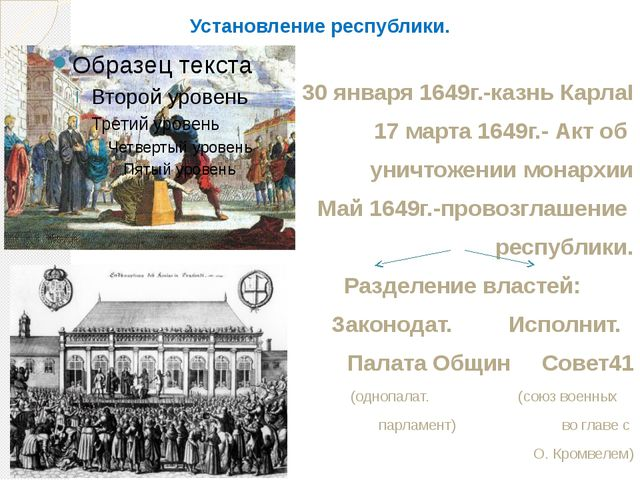 Установление республики. 30 января 1649г.-казнь КарлаI 17 марта 1649г.- Акт о...