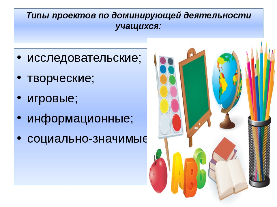 Типы проектов по доминирующей деятельности учащихся: исследовательские; творч...
