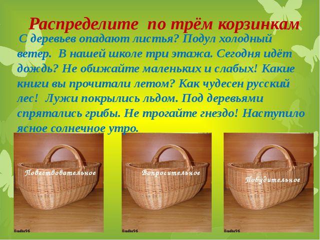 Повествовательное Вопросительное  Побудительное  Распределите по трём корзи...