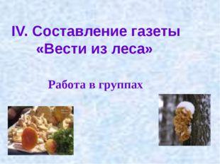 IV. Составление газеты «Вести из леса» Работа в группах