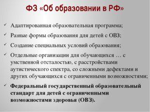 ФЗ «Об образовании в РФ» Адаптированная образовательная программа; Разные фор