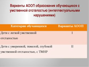 Варианты АООП образования обучающихся с умственной отсталостью (интеллектуаль