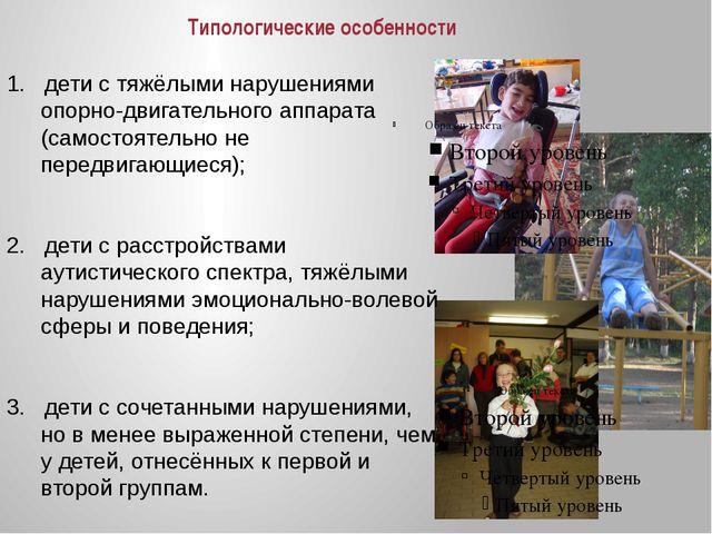 Типологические особенности 1. дети с тяжёлыми нарушениями опорно-двигательног...