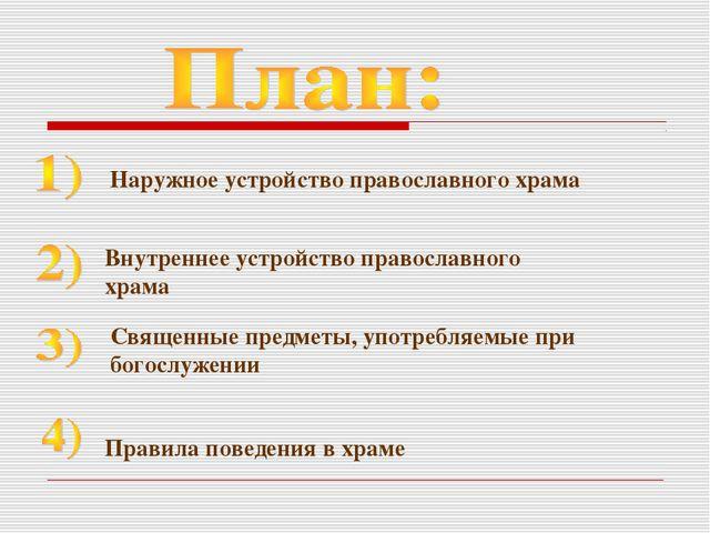 Наружное устройство православного храма Внутреннее устройство православного х...