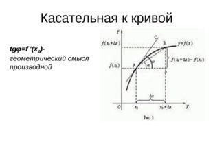 Касательная к кривой tgφ=f '(x0)- геометрический смысл производной