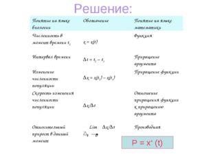 Решение: Р = х' (t) Понятие на языке биологииОбозначениеПонятие на языке ма