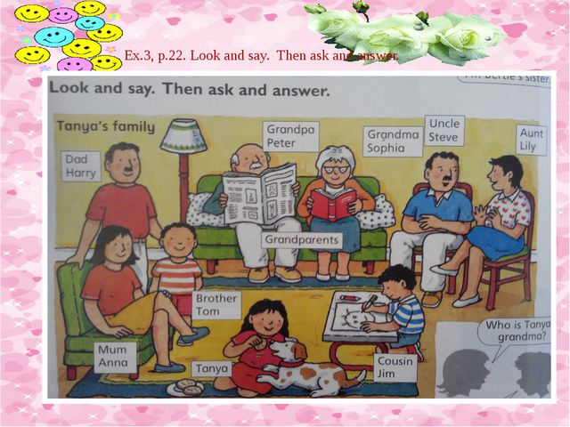 Ex.3, p.22. Look and say. Then ask and answer.