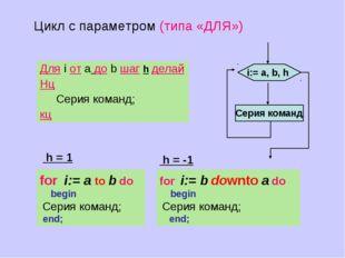 Серия команд i:= а, b, h Для i от a до b шаг h делай Нц Cерия команд; кц Цикл